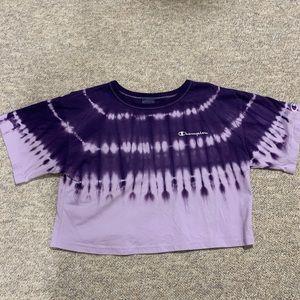 Champion Purple Acid-wash Crop Top